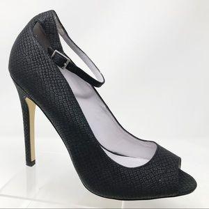 Shoemint | Lindsey Snake Print Peep Toe Heels